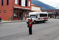 artist Alexander Chen taking reference photos of Skagway