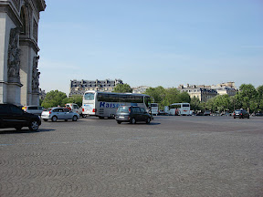 The crazy traffic in the roundabout around the Arc de Triomphe