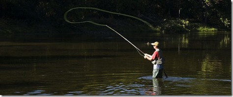 Fly Fisherman in Early Light from Internet