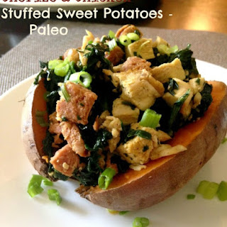 Chorizo and Chicken Stuffed Sweet Potatoes {Paleo}