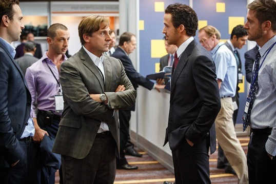 Steve Carell, Ryan Gosling, Jeremy Strong in The Big Short