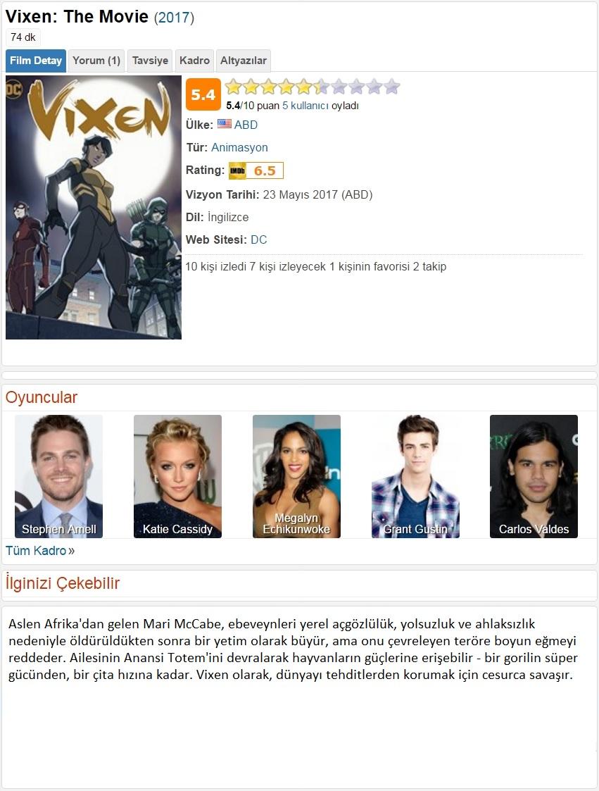 Vixen Film 2017 - 1080p 720p 480p - Türkçe Dublaj Tek Link indir
