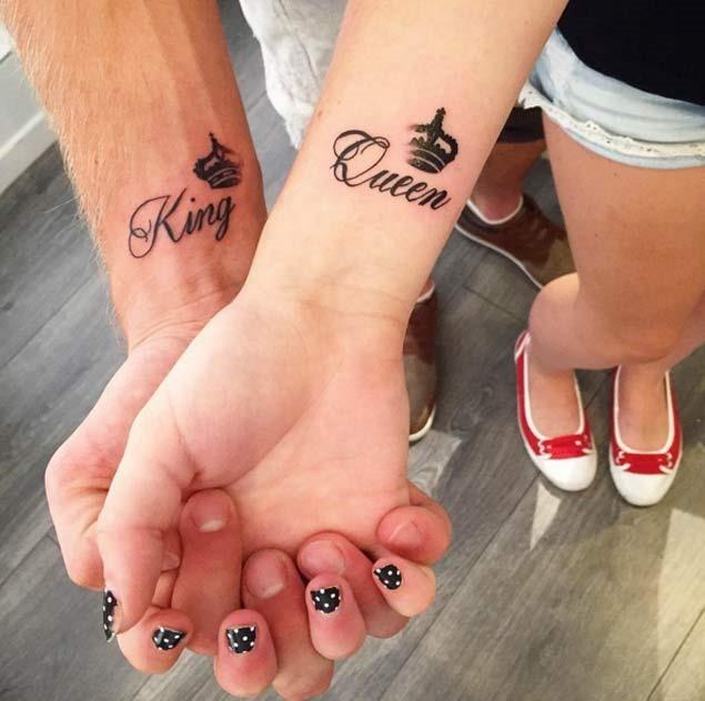 Estes correspondência rei e a rainha casal tatuagens