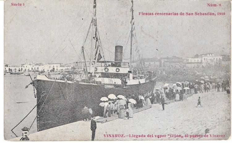 Vapor GIJON en el puerto de Vinaroz. Postal cedida por Jaume Cifre Sanchez. Nuestro agradecimiento.jpg