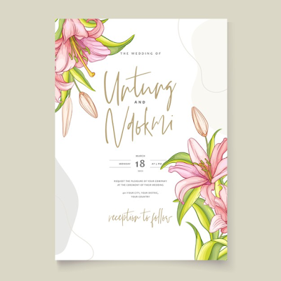 Download template undangan floral berwarna