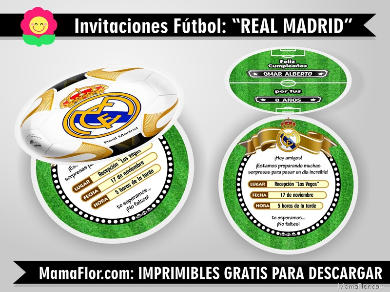 Invitaciones Pelota Balon Real Madrid