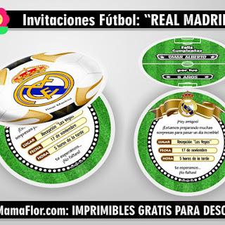 Invitaciones Real Madrid: Tarjeta en forma de balón de Fútbol