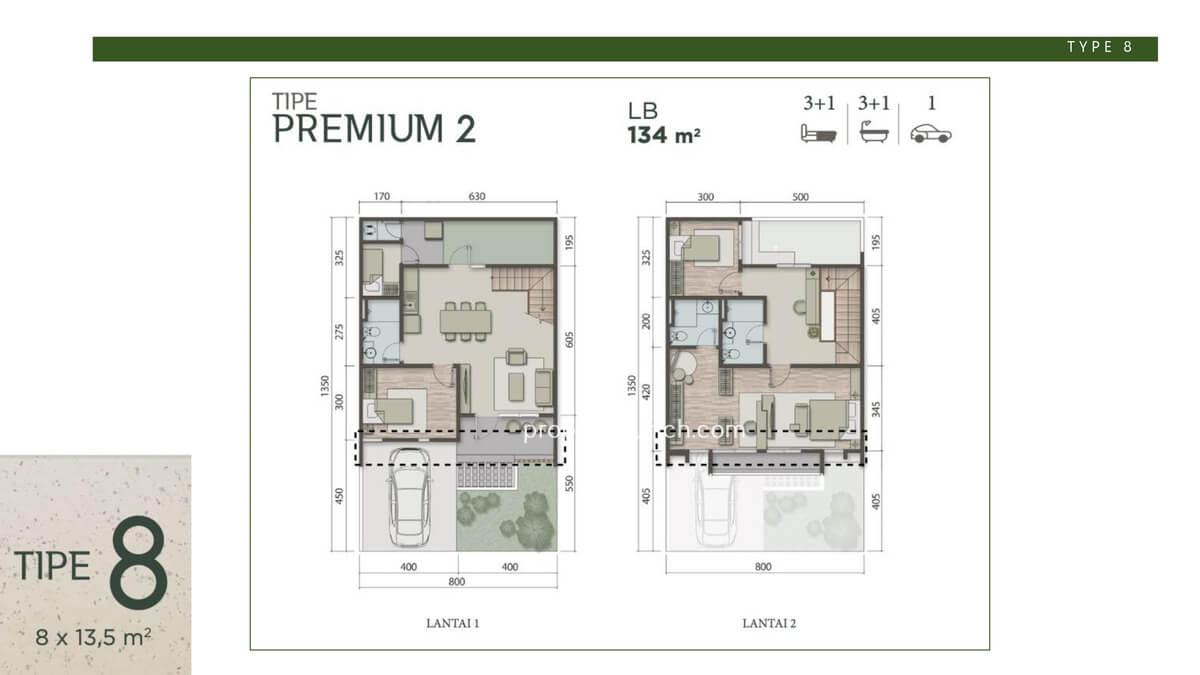 Denah Rumah Carson Summarecon Serpong Tipe 8 Premium 2