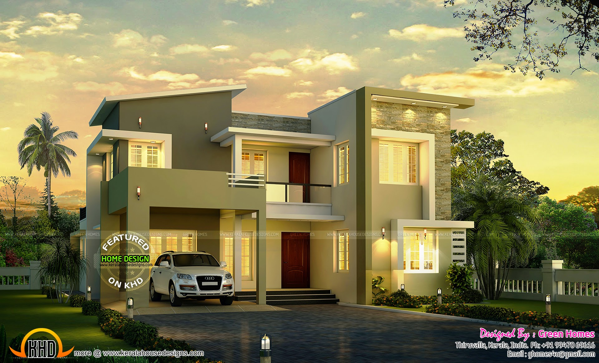 Modern house night view kerala home design and floor plans for Green modern home designs