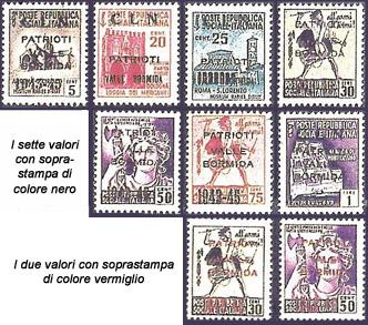 valle bormida - francobolli resistenza - sovrastampe - 1945