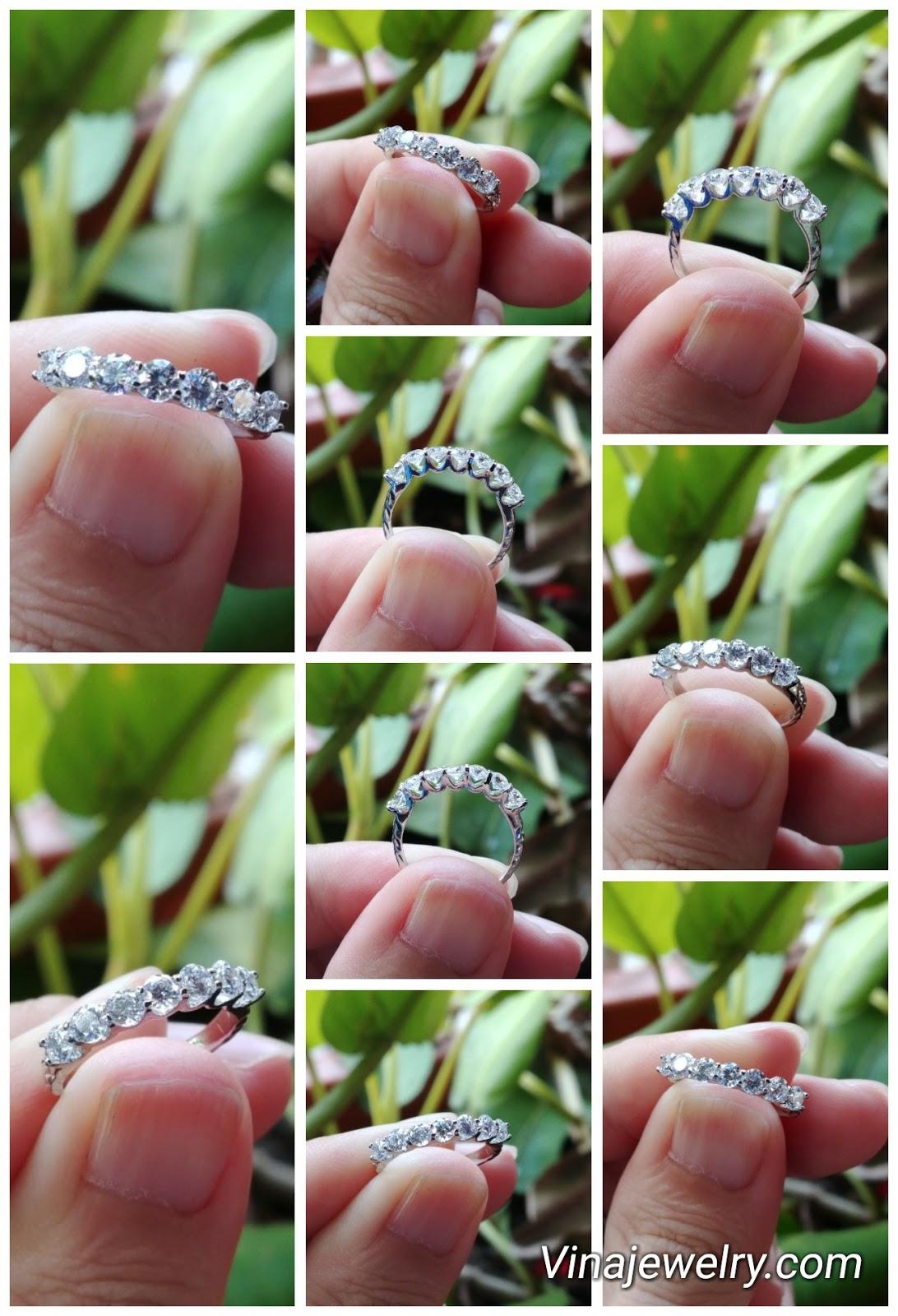 Nhẫn nữ Kim cương thiên nhiên, Natural Diamond, vàng trắng 18k