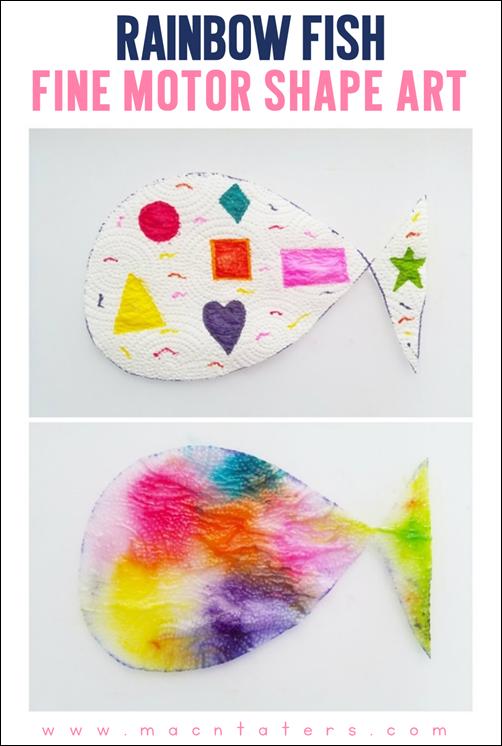 Rainbow Fish Fine Motor Shape Art