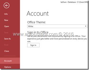 Memilih perintah account