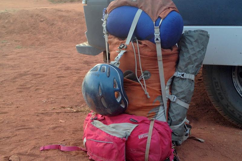 Climbing gear, sleeping bag, and pad