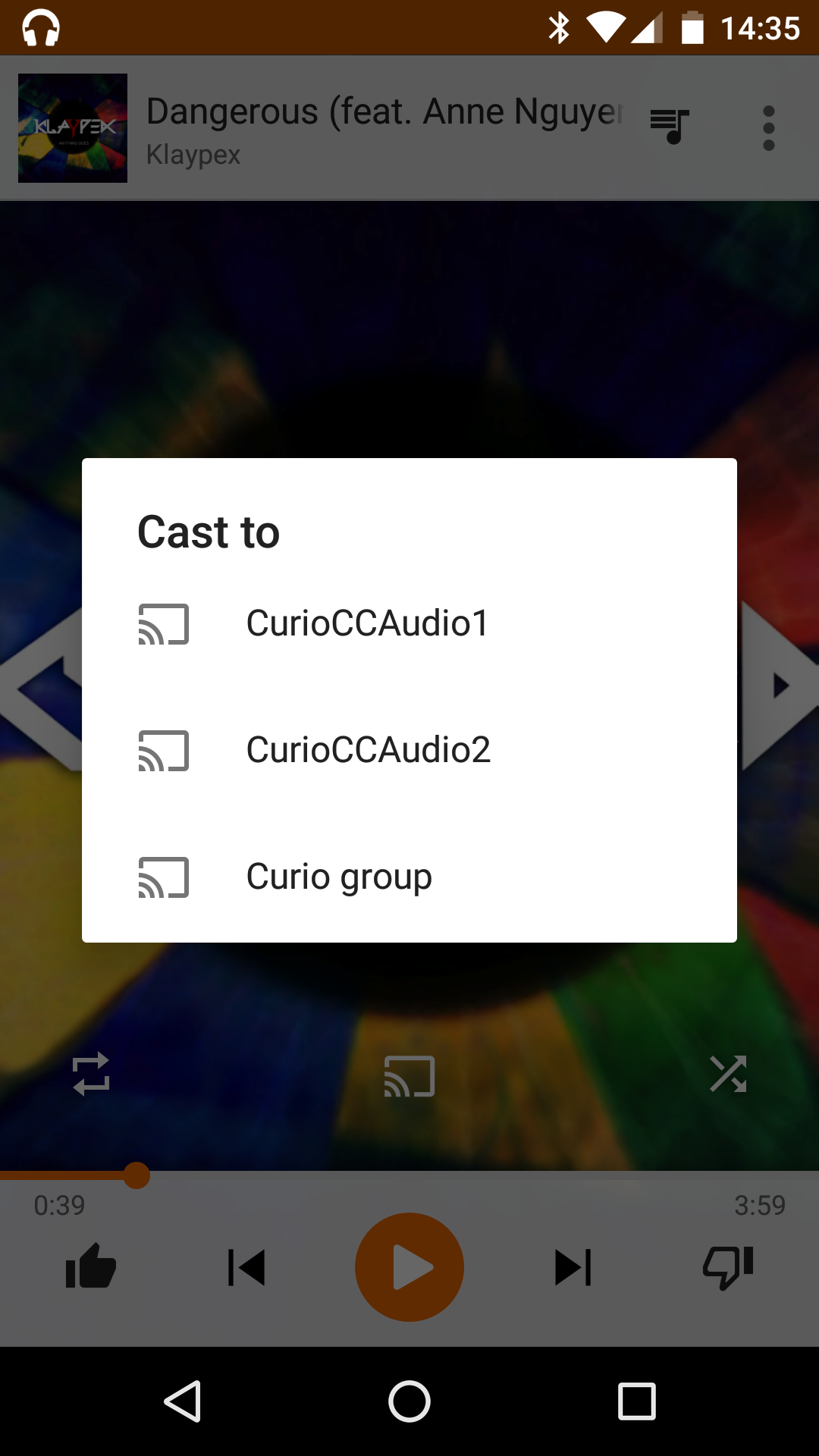 Photo: Once a group created, you can still cast to a single Chromecast or to a group