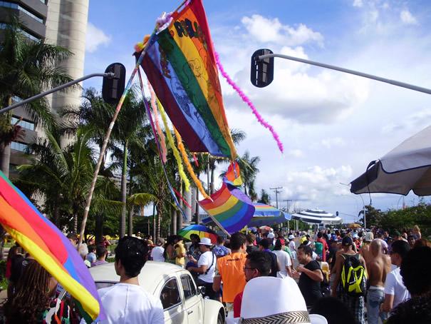 Em 2012, bandeiras e estandarte arco-íris indicavam que todos e todas eram bem-vindos. No bloco, foram distribuídas camisinhas, o que fez parte da ação do Estruturação no reforço da prevenção de DST/Aids no carnaval (Foto: Hernanny Queiroz/Arquivo/Gay1)