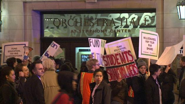 Leftists demand free university education, occupy Chicago concert hall