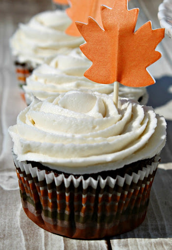 Chocolate Cupcakes with Pumpkin Spice Buttercream Frosting