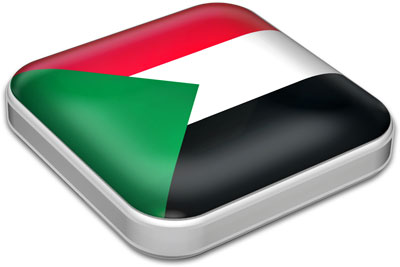Flag of Sudan with metallic square frame