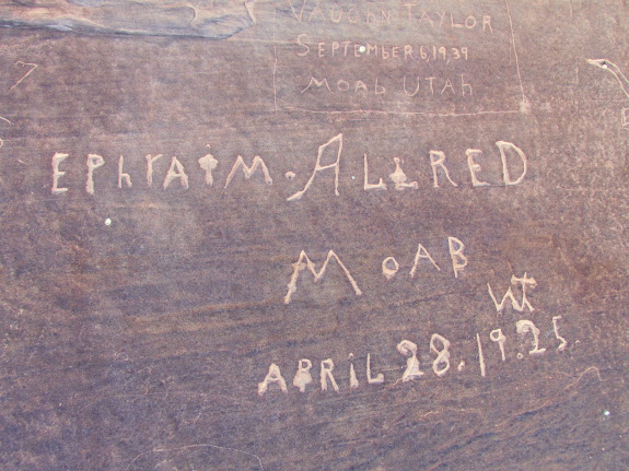 Ephraim Allred inscription at Beaver Bottom