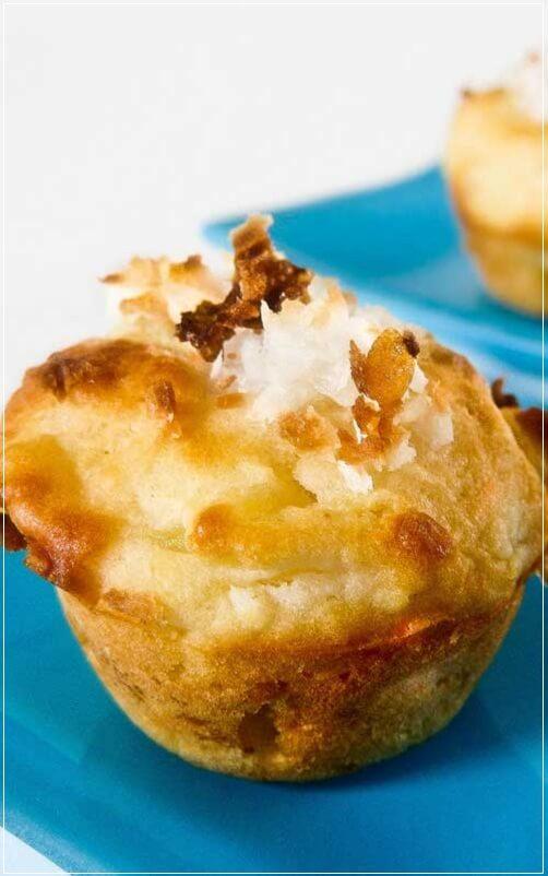 Pina Colada Mini Muffins,brown sugar,butter,coconut,Eggs,flour,pineapple,rum,Bread,Breakfast