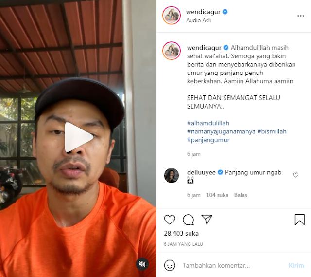 Klarifikasi Wendi Cagur di Instagram