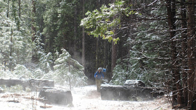 The sun breaking through...snow falling, and steam rising!©http://backpackthesierra.com
