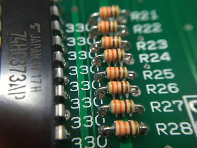 7セグ電流制限用抵抗取付後