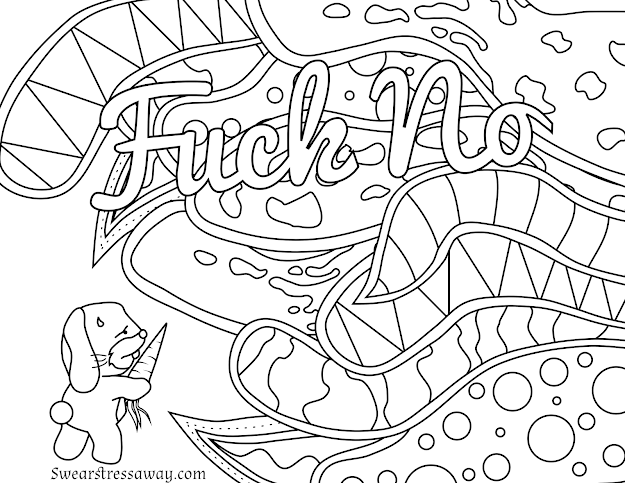 Free Printable Coloring Page  Fuck No  Swear Word Coloring Page  Sweary  Coloring Page  Adult Coloring Pages