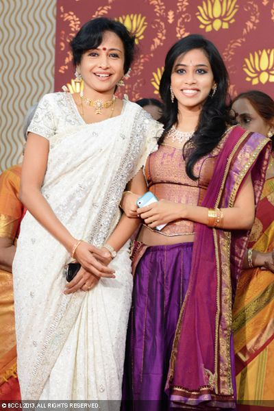 Urmila Satyanaraya and Malavika attend Sudha Raghunathan's son Kaushik and Urmitapa's wedding ceremony, held in the city recently.