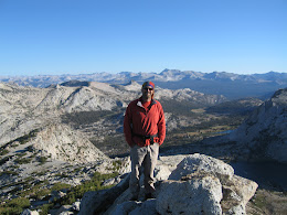 Jorma at the top of Vogelsang peak. Hiked up at sunrise.