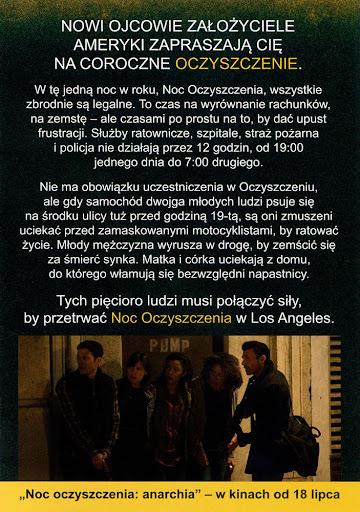 Tył ulotki filmu 'Noc Oczyszczenia: Anarchia'