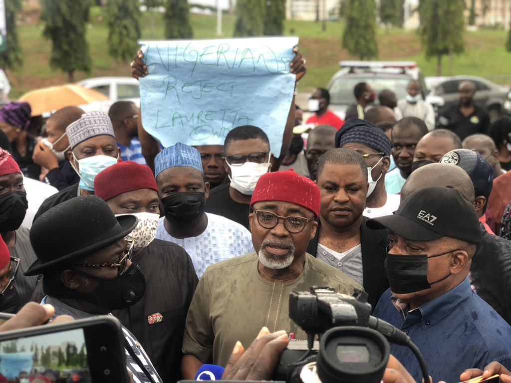 PDP Protests Against Lauretta Onochie's Nomination At National Assembly (Photos)