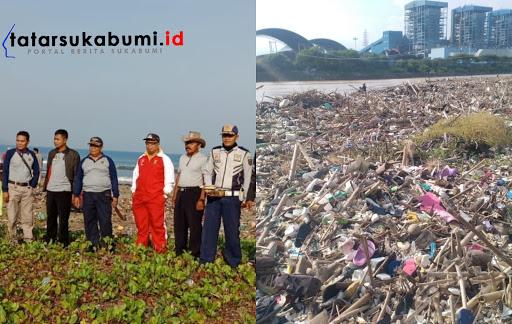 Pembersihan tumpukan sampah di Pantai Loji Palabuhanratu Sukabumi