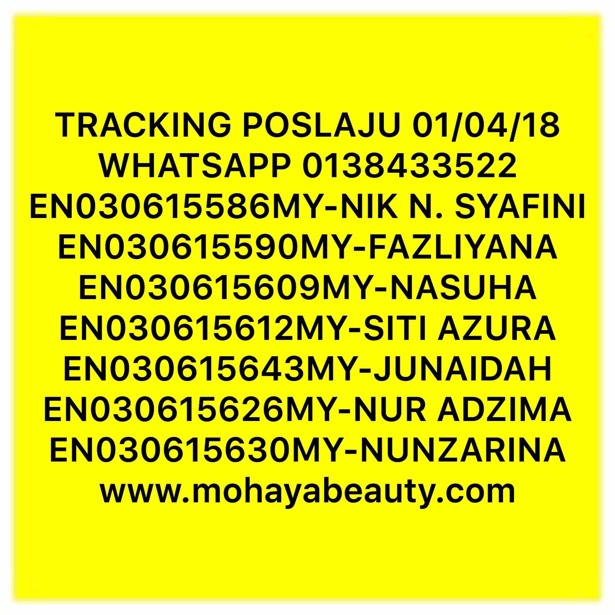 TRACKING NUMBER 01/04/18 ( AHAD )  TERIMA KASIH SEMUA..SIAP YANG NAK JADI AGEN BOLEH CEPAT2 SEBELUM SLOT DAH PENUH.. SILA KLIK LINK UNTUK MEMBUAT SEMAKAN STATUS PARCEL ANDA. Https://www.tracking.my/couriers/poslaju  #poslaju #trackingposlaju #posharini #poslajumalaysia #assalamualaikum #queenfacepolishtreatment #stokisqfptmohaya