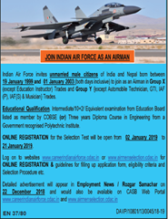 IAF Airmen 2019 Advertisement indgovtjobs