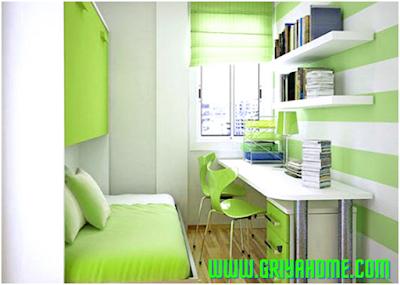 Desain warna kamar tidur sempit.