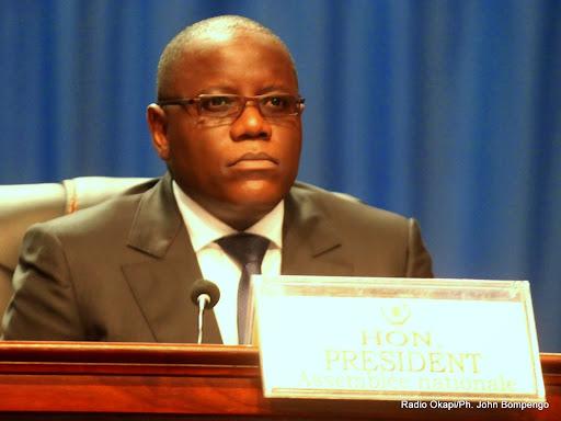 Le président de l'Assemblée nationale congolaise, Aubin Minaku le 15/03/2014 au palais du peuple de Kinshasa, lors de l'ouverture de la session parlementaire ordinaire. Radio Okapi/ Ph. John Bompengo