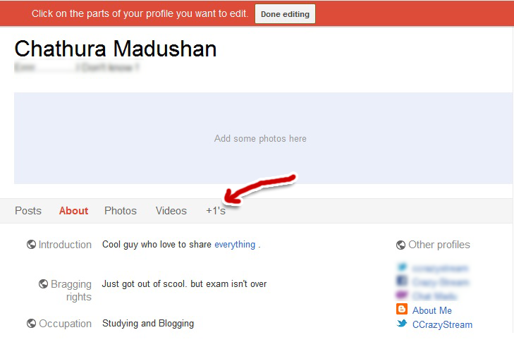 Google plus edit profile