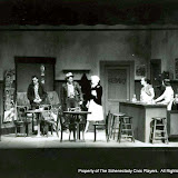 Carleton Hawthorne, Warren Stewart, Helen Rudsill, Harriet McMullen and Cindy Brown in BUS STOP - Janaury 1958.  Property of The Schenectady Civic Players Theater Archive.