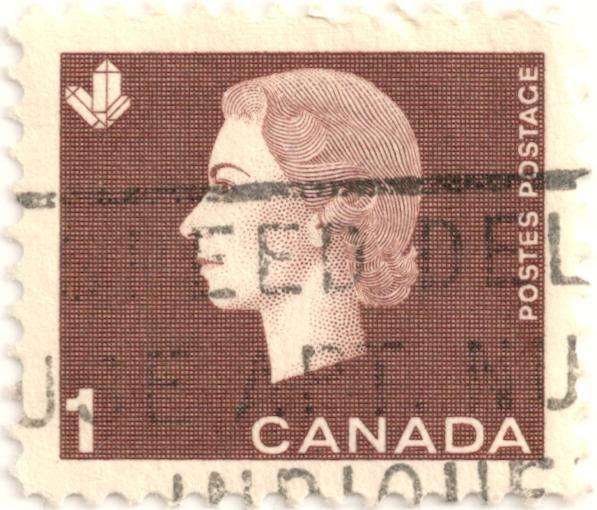 Queen Elizabeth Ii Canada Postes Postage Brown 1 C 1963 Stamp