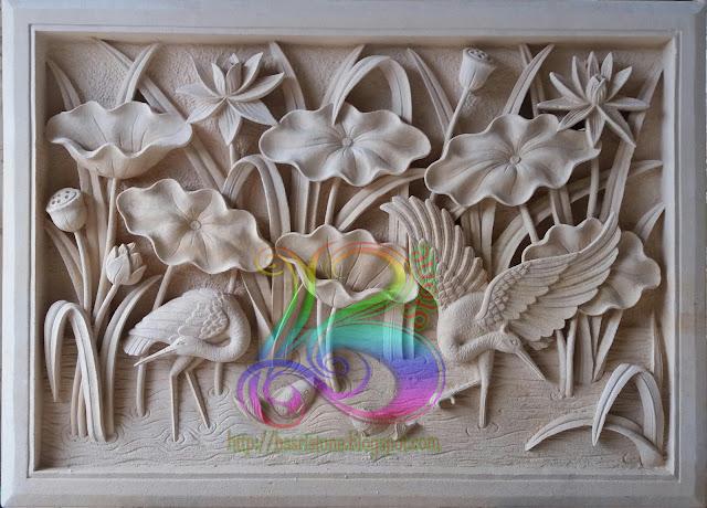 relief lotus batu alam
