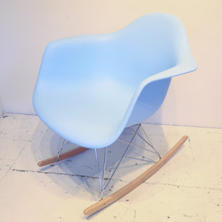 Eames-Style Blue Rocking Chair