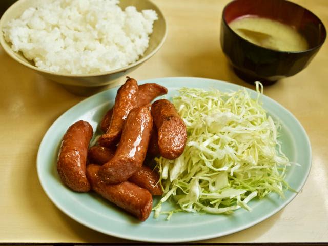 ウインナー炒め定食