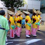 preparing for the awa odori matsuri in nakameguro in Meguro, Tokyo, Japan