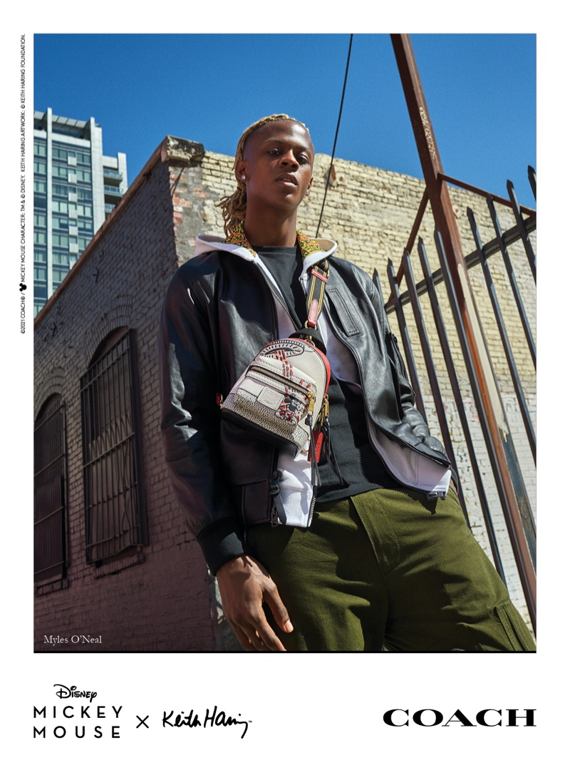 Myles O'Neal stars in Coach Mickey Mouse x Keith Haring campaign.