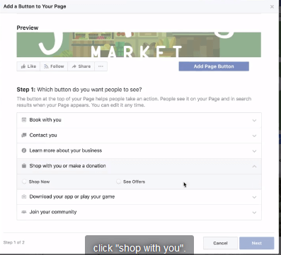 Select call-to-action button