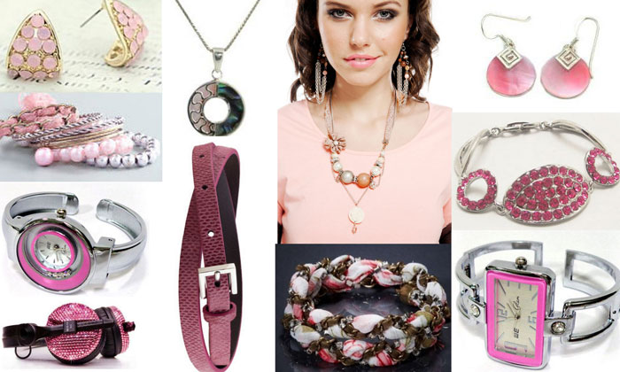 Pink earrings, belt, pendant, brcelet and wrist watch