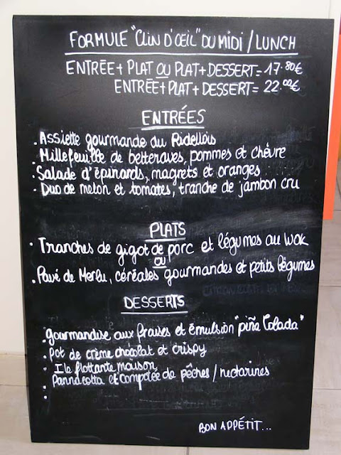 Restaurant menu board, Indre et Loire, France. Photo by Loire Valley Time Travel.