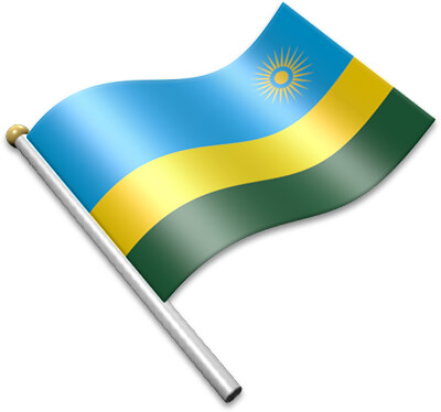 The Rwandan flag on a flagpole clipart image